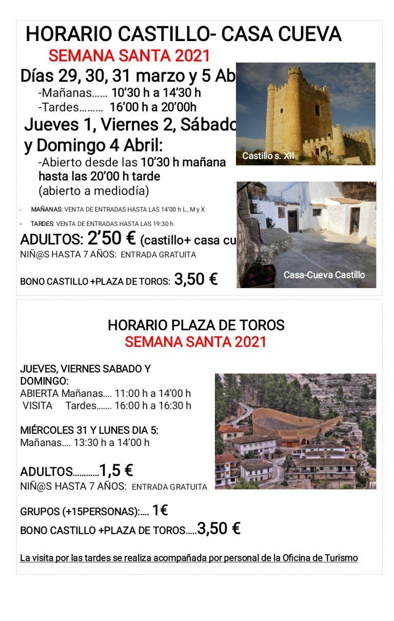 NUEVOS HORARIOS CASTILLO CASA/CUEVA DE ALCALA DEL JUCAR